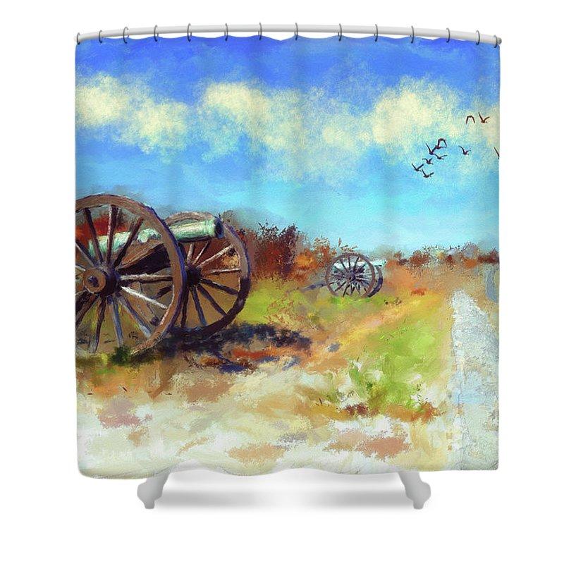 Antietam Shower Curtain featuring the digital art Antietam Under Blue Skies by Lois Bryan
