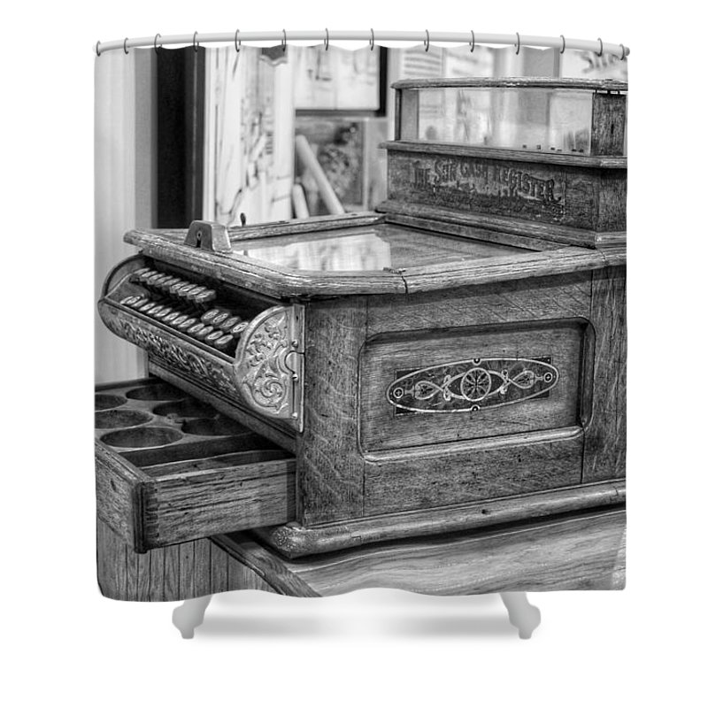 Cash Register Shower Curtain featuring the photograph Antique Cash Register by Jackson Pearson