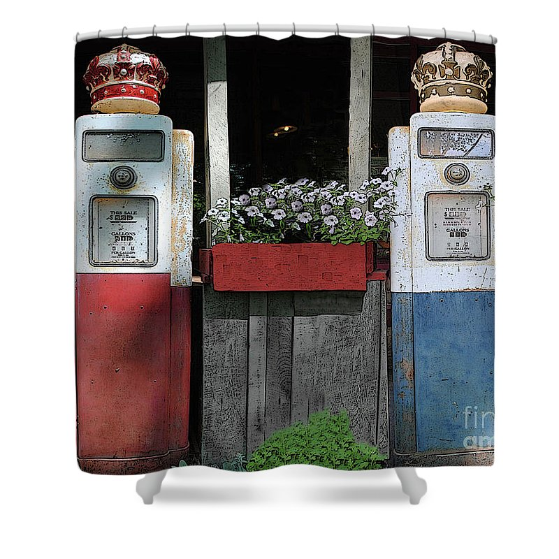 Antigue Shower Curtain featuring the photograph Antique Gas Pumps by Jost Houk