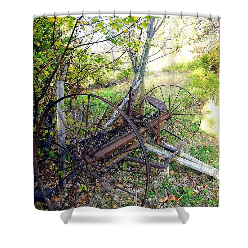Antique Hay Rake Shower Curtain featuring the photograph Antique Hay Rake by Will Borden