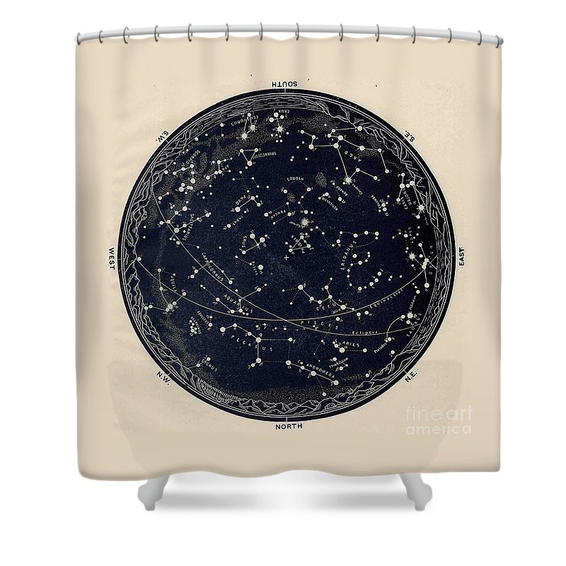 Celestial Shower Curtain Featuring The Drawing Antique Map Of Night Sky 19th Century Astronomy