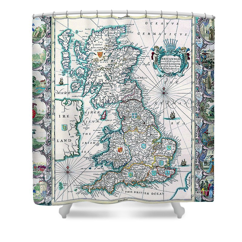 Antique Maps Of The World Shower Curtain Featuring Painting Map