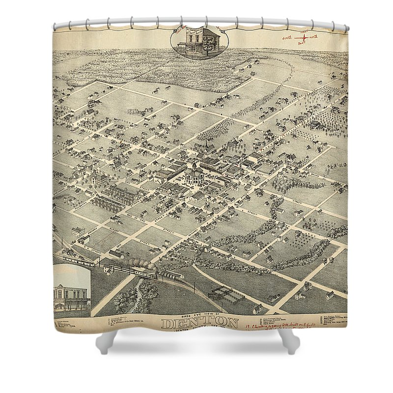 Antique Birds Eye View Map Of Denton Shower Curtain featuring the drawing Antique Maps - Old Cartographic Maps - Antique Birds Eye View Map Of Denton, Texas, 1883 by Studio Grafiikka