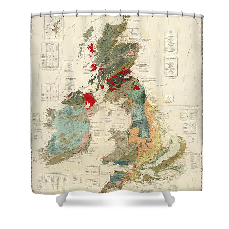 Antique Geographical And Palaeontological Map Of British Islands Shower Curtain featuring the drawing Antique Maps - Old Cartographic Maps - Antique Geological Map Of The British Islands by Studio Grafiikka