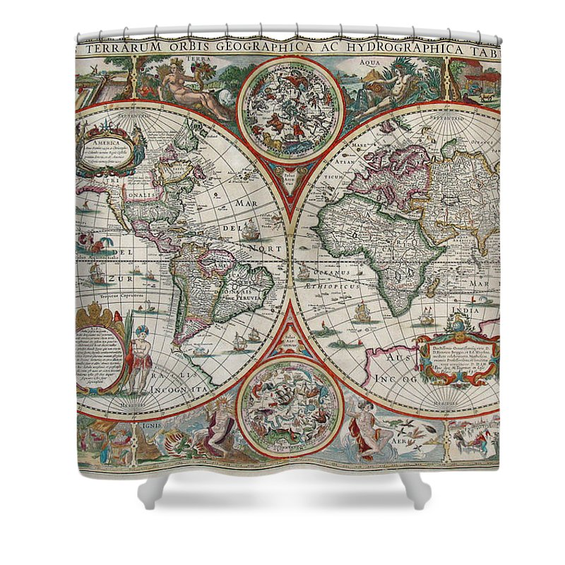 Antique World Map Shower Curtain featuring the drawing Antique Maps - Old Cartographic maps - Antique Map of the World in Latin by Studio Grafiikka