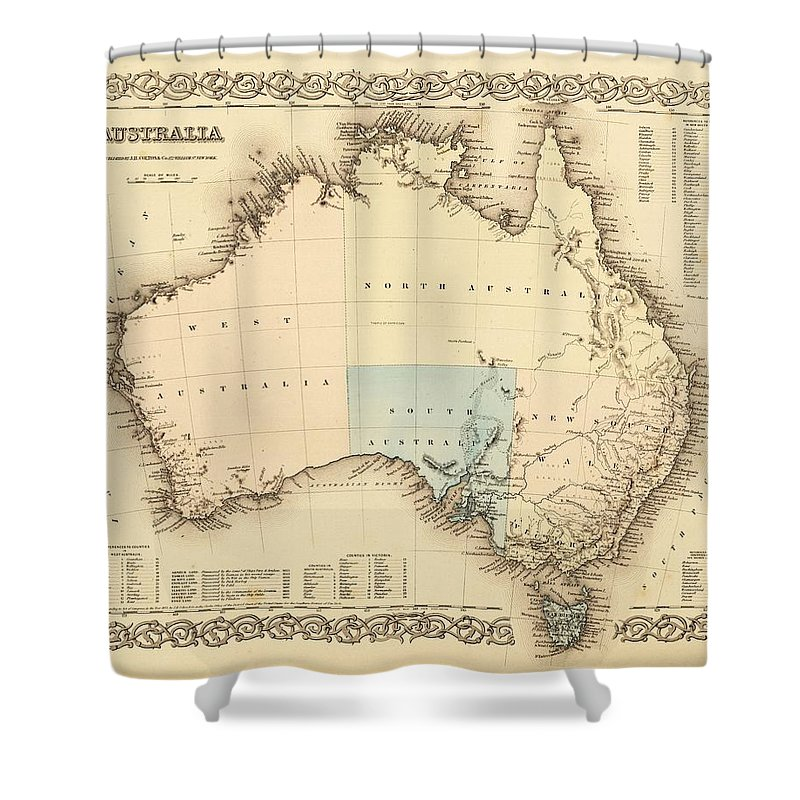 Antique Australia Map Shower Curtain featuring the drawing Antique Maps - Old Cartographic Maps - Antique Map Of Australia by Studio Grafiikka
