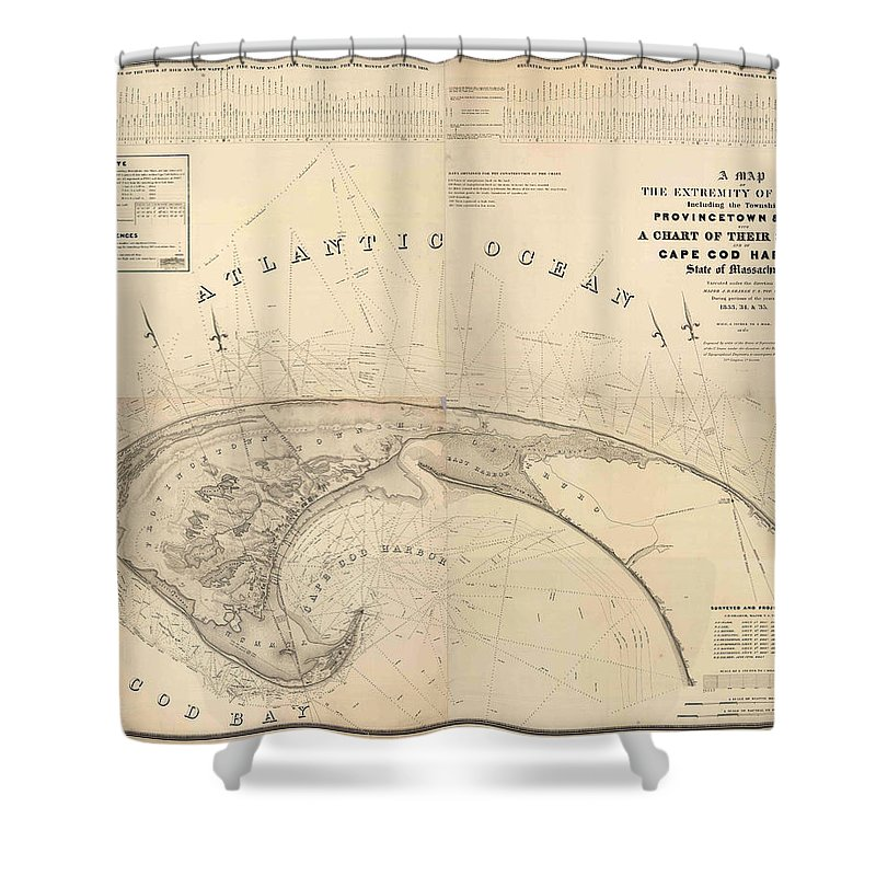 Antique Cape Cod Map Shower Curtain featuring the drawing Antique Maps - Old Cartographic Maps - Antique Map Of Cape Cod, Massachusetts, 1836 by Studio Grafiikka