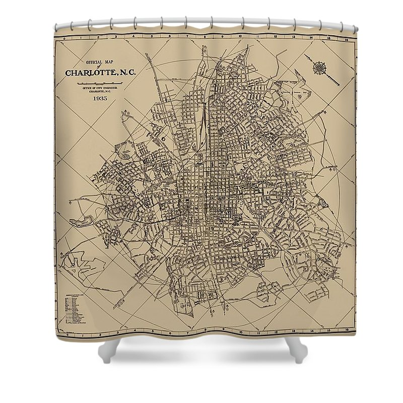 Antique Maps - Old Cartographic Maps - Antique Map Of Charlotte, North  Carolina, 1935 Shower Curtain