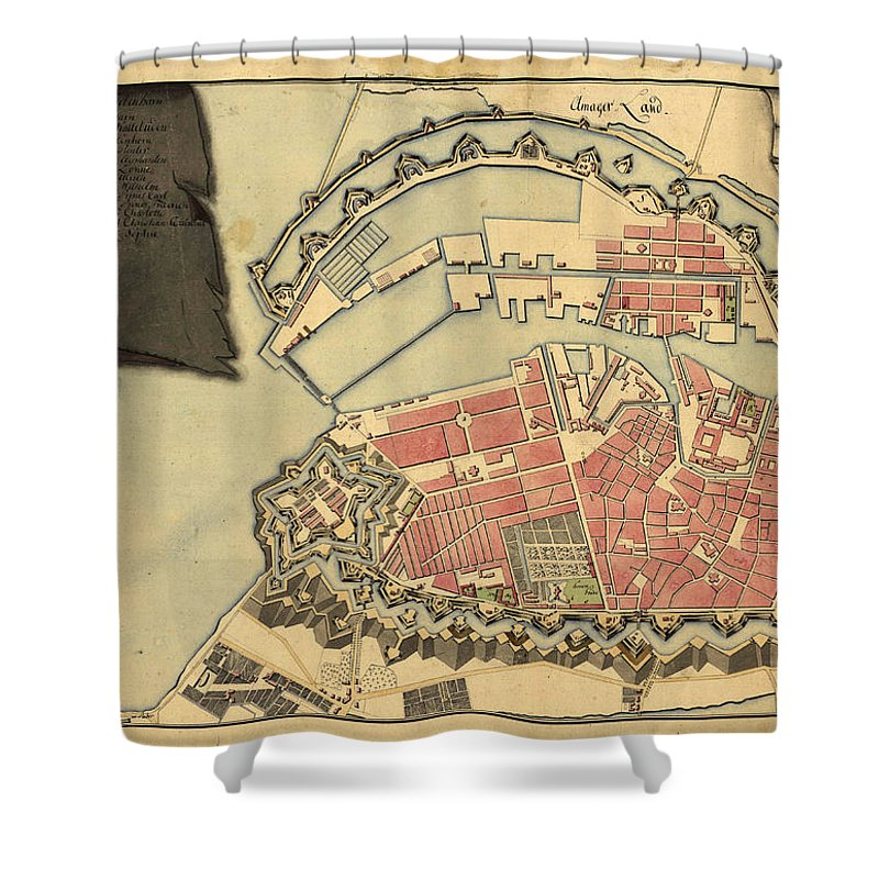 Antique Map Of Copenhagen Shower Curtain Featuring The Drawing Maps