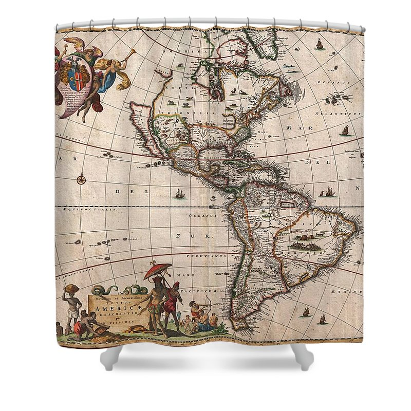 Antique Map Of North America Shower Curtain featuring the drawing Antique Maps - Old Cartographic maps - Antique Map of North and South America, 1658 by Studio Grafiikka
