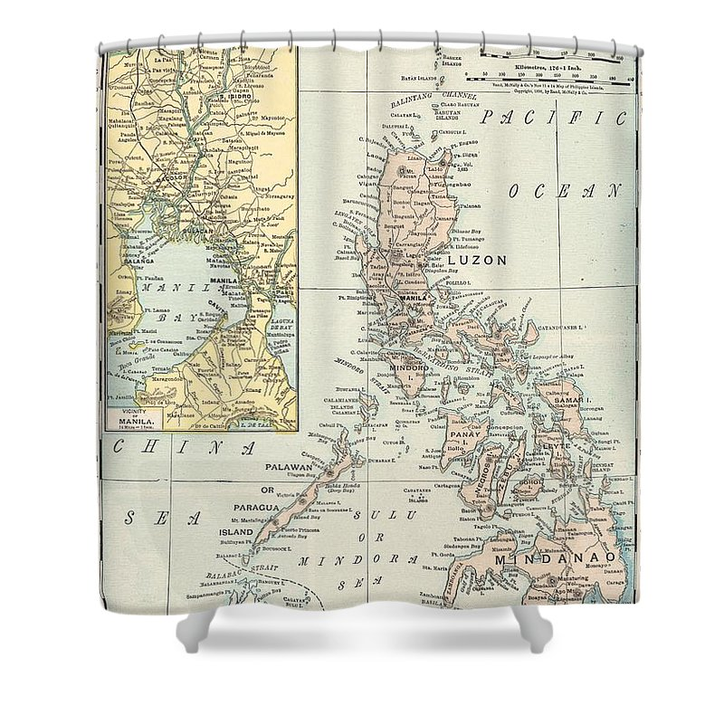 Antique Philippine Island Map Shower Curtain featuring the drawing Antique Maps - Old Cartographic Maps - Antique Map Of Philippine Islands And Manila Bay, 1898 by Studio Grafiikka