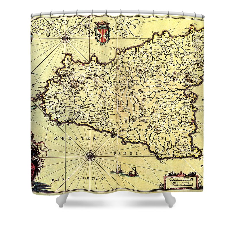 Antique Maps - Old Cartographic Maps - Antique Map Of Sicily, Italy Shower  Curtain