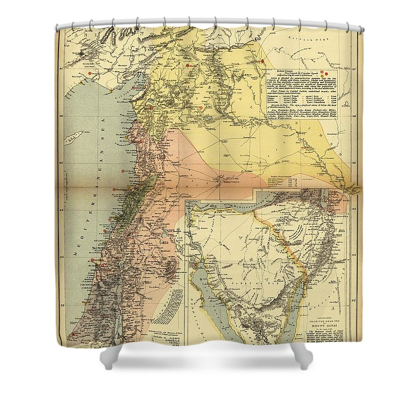 Antique Map Of Syria Shower Curtain featuring the drawing Antique Maps - Old Cartographic Maps - Antique Map Of Syria, 1884 by Studio Grafiikka