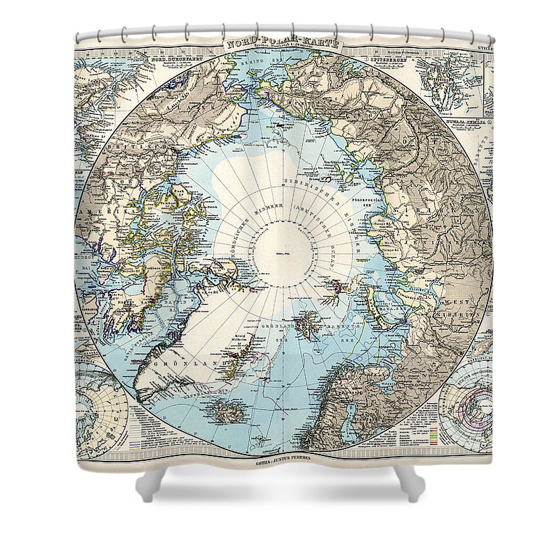 Antique Maps Old Cartographic Maps Antique Map Of The North Pole And The Arctic Region Shower Curtain For Sale By Studio Grafiikka