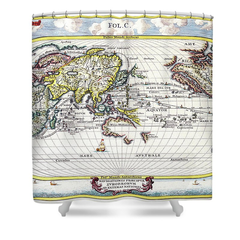 Antique Maps - Old Cartographic Maps - Antique Map Of The World, 1700  Shower Curtain