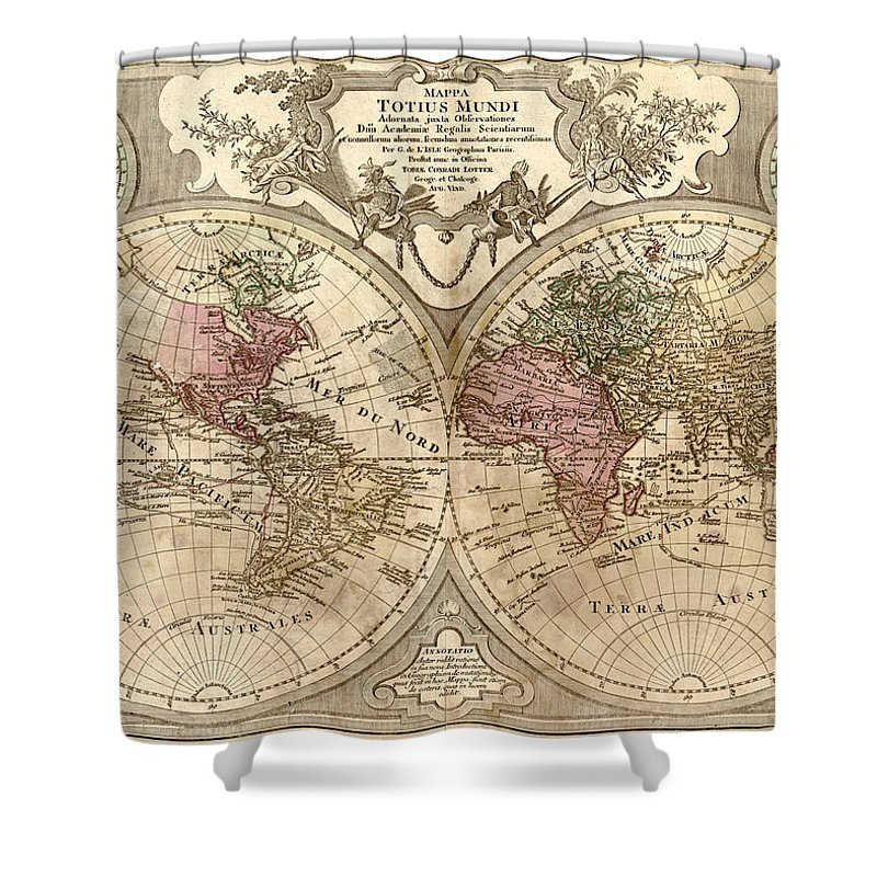 Antique Map Of The World Shower Curtain featuring the drawing Antique Maps - Old Cartographic maps - Antique Map of the World, Globe - Mappa Mundi by Studio Grafiikka