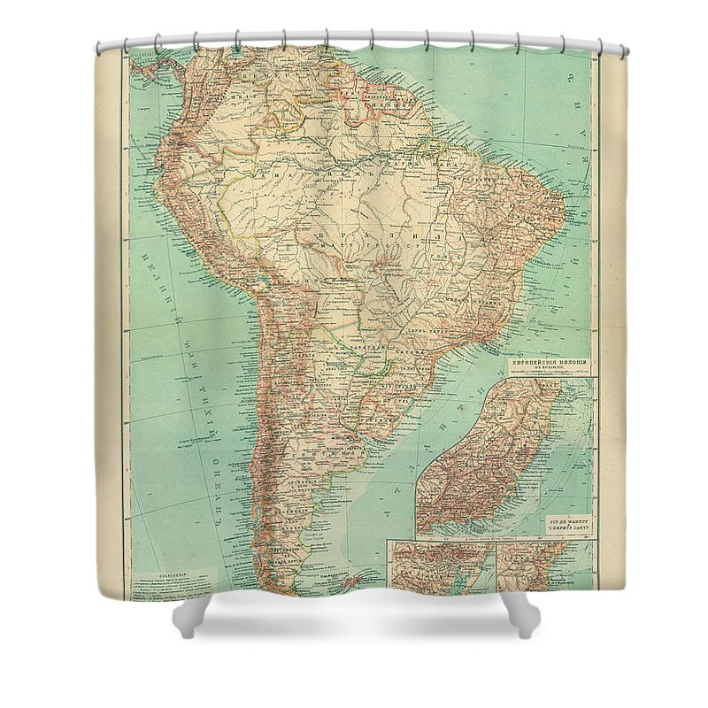 Antique Russian Map Of South America Shower Curtain featuring the drawing Antique Maps - Old Cartographic Maps - Antique Russian Map Of South America by Studio Grafiikka