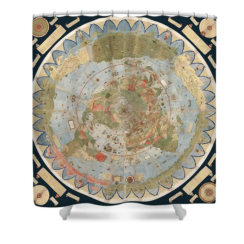 Antique maps old cartographic maps flat earth map map of the flat earth map shower curtain featuring the drawing antique maps old cartographic maps flat gumiabroncs Choice Image