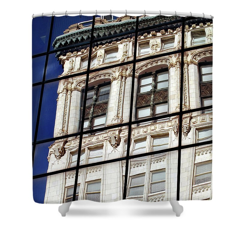 Building Shower Curtain featuring the photograph Antique Reflection by Skip Willits