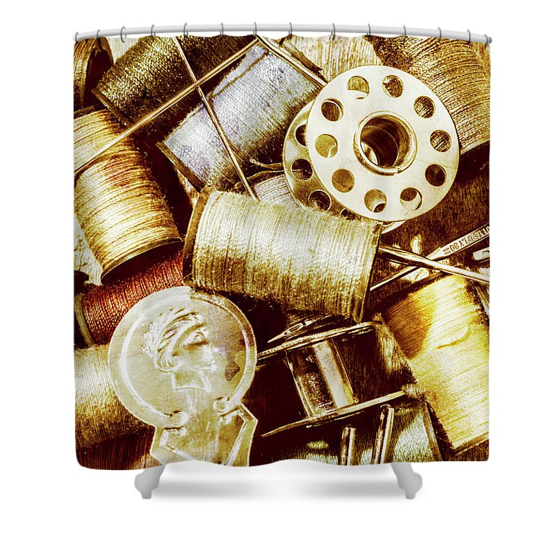 Sewing Shower Curtain featuring the photograph Antique Sewing Artwork by Jorgo Photography - Wall Art Gallery