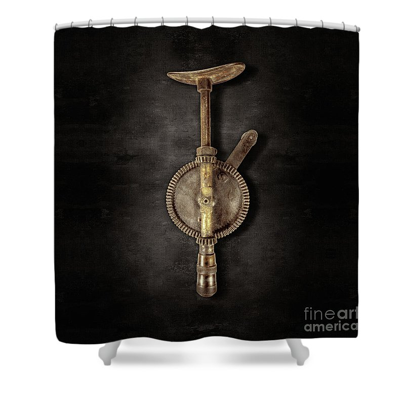 Antique Shower Curtain featuring the photograph Antique Shoulder Drill Backside On Black by YoPedro