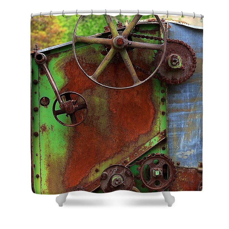 Farming Shower Curtain featuring the photograph Antique Thrasher by Penny Haviland