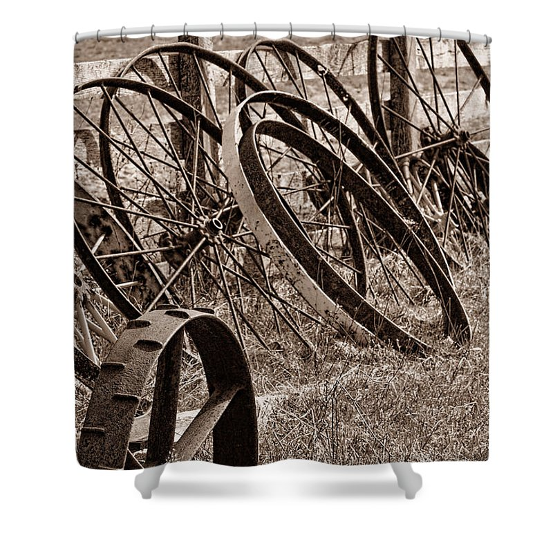 Wheel Shower Curtain featuring the photograph Antique Wagon Wheels II by Tom Mc Nemar
