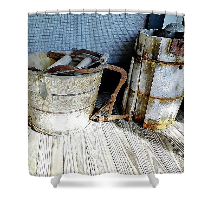 Wooden Shower Curtain featuring the photograph Antique Wooden Buckets by D Hackett