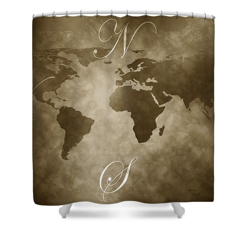 Compass Shower Curtain featuring the digital art Antique World Map by Phill Petrovic
