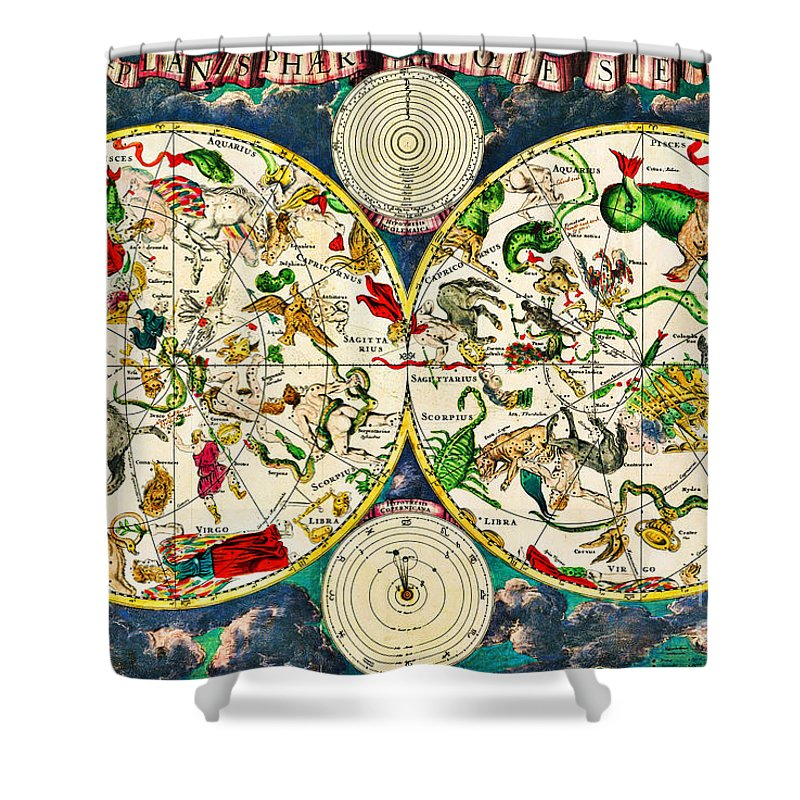 Antique Zodiac Astrology Star Constellation Chart Map Of The Skies Shower Curtain For Sale By Peter Ogden Gallery