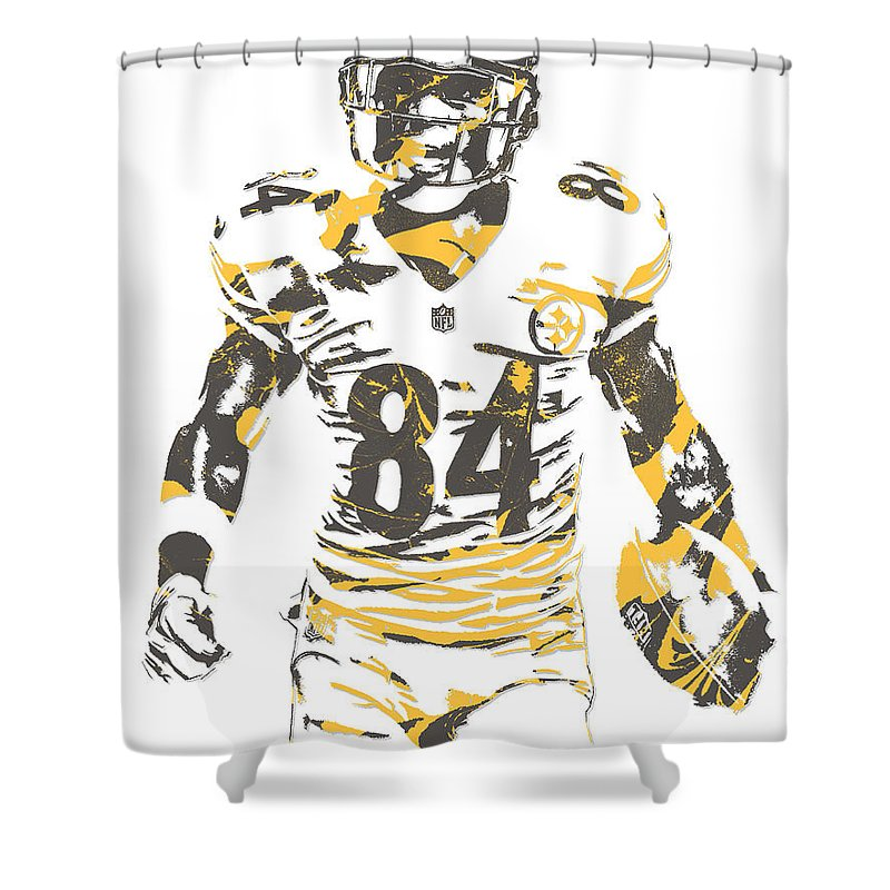 Antonio Brown Shower Curtain Featuring The Mixed Media Pittsburgh Steelers Pixel Art 17 By