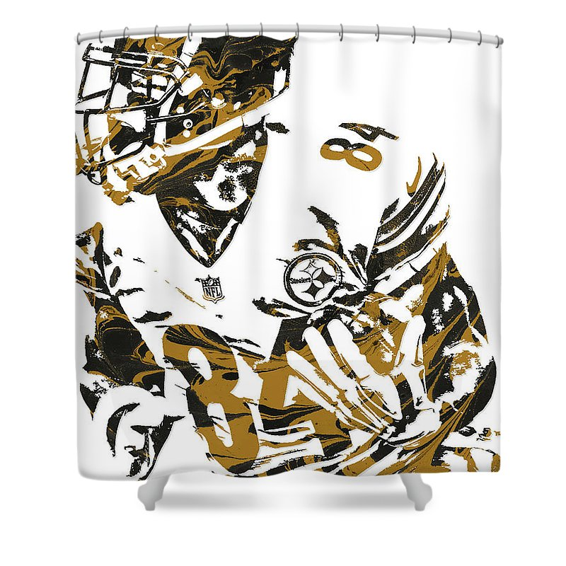 Antonio Brown Shower Curtain Featuring The Mixed Media Pittsburgh Steelers Pixel Art 7 By
