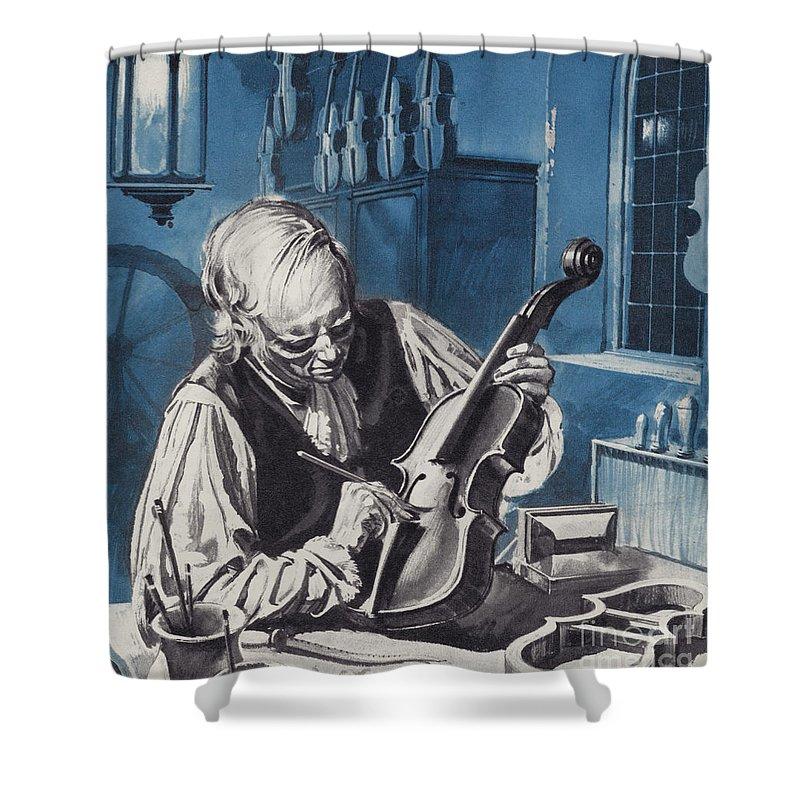 Antonio Stradivari Shower Curtain featuring the painting Antonio Stradivari by English School