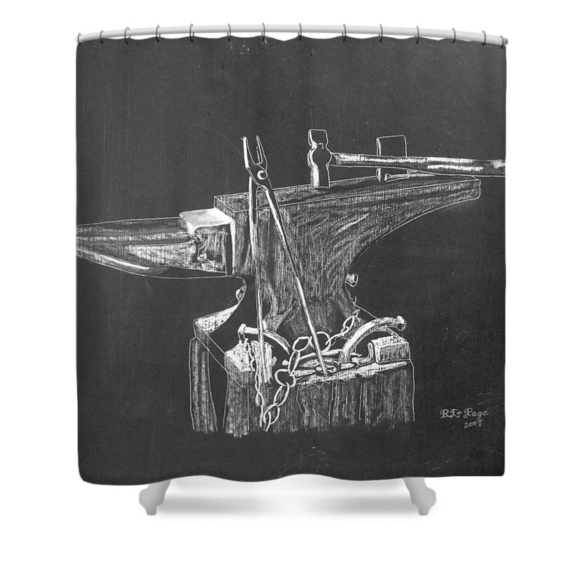 Anvil Shower Curtain featuring the painting Anvil by Richard Le Page