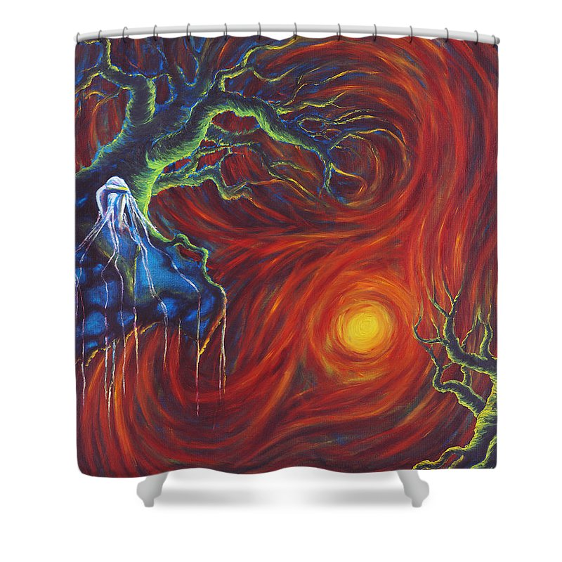 Tree Paintings Shower Curtain featuring the painting Anxiety by Jennifer McDuffie