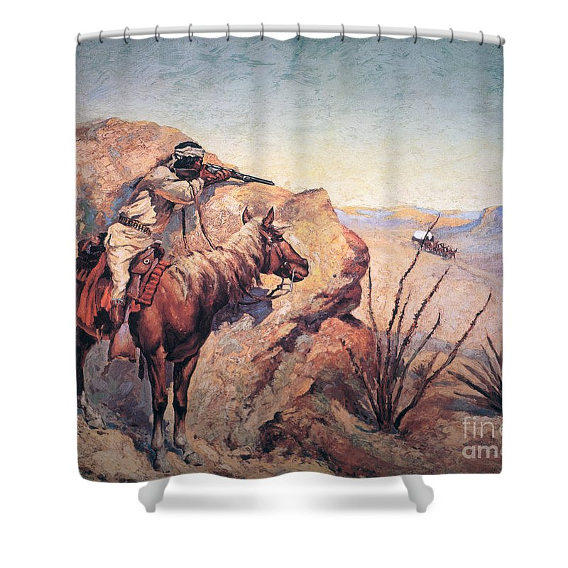 Apache Ambush (oil On Canvas) By Frederic Remington (1861-1909) Remington Shower Curtain featuring the painting Apache Ambush by Frederic Remington