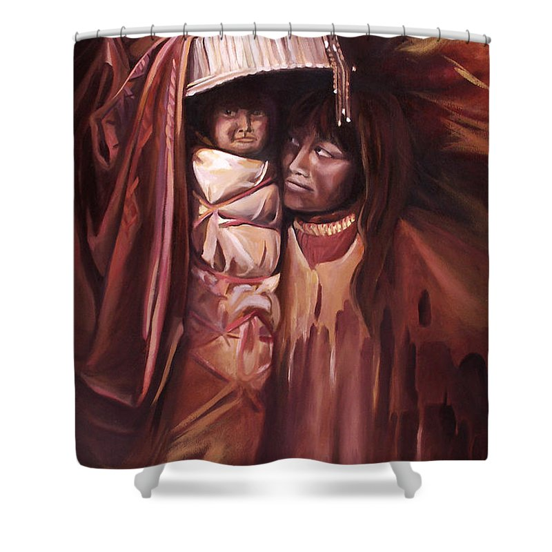 Native American Shower Curtain featuring the painting Apache Girl And Papoose by Nancy Griswold