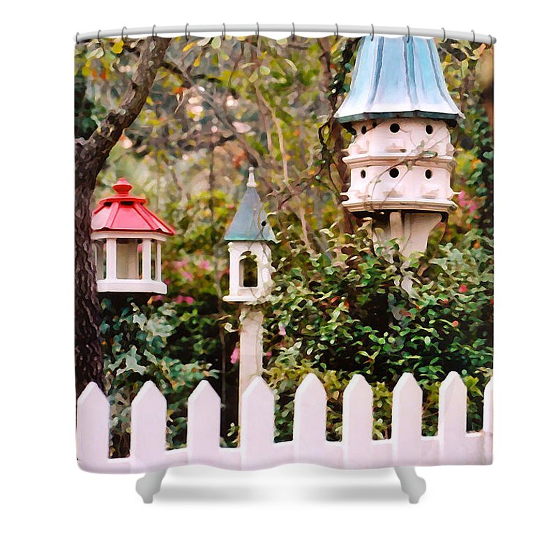 Birdhouses Shower Curtain featuring the photograph Apartment Living by Donna Bentley