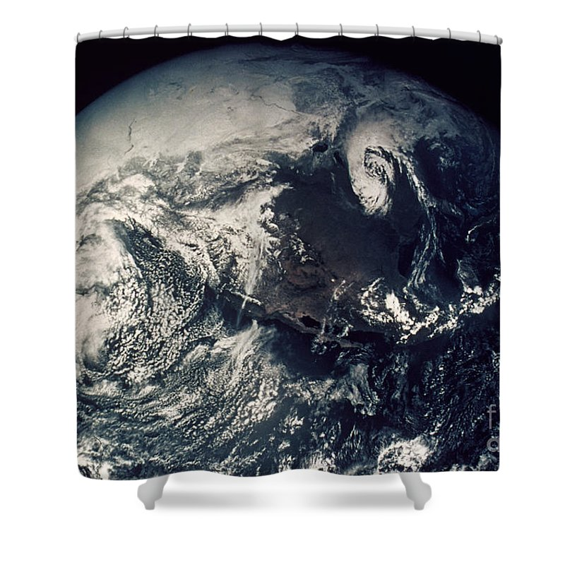 1970s Shower Curtain featuring the photograph Apollo 16: Earth by Granger