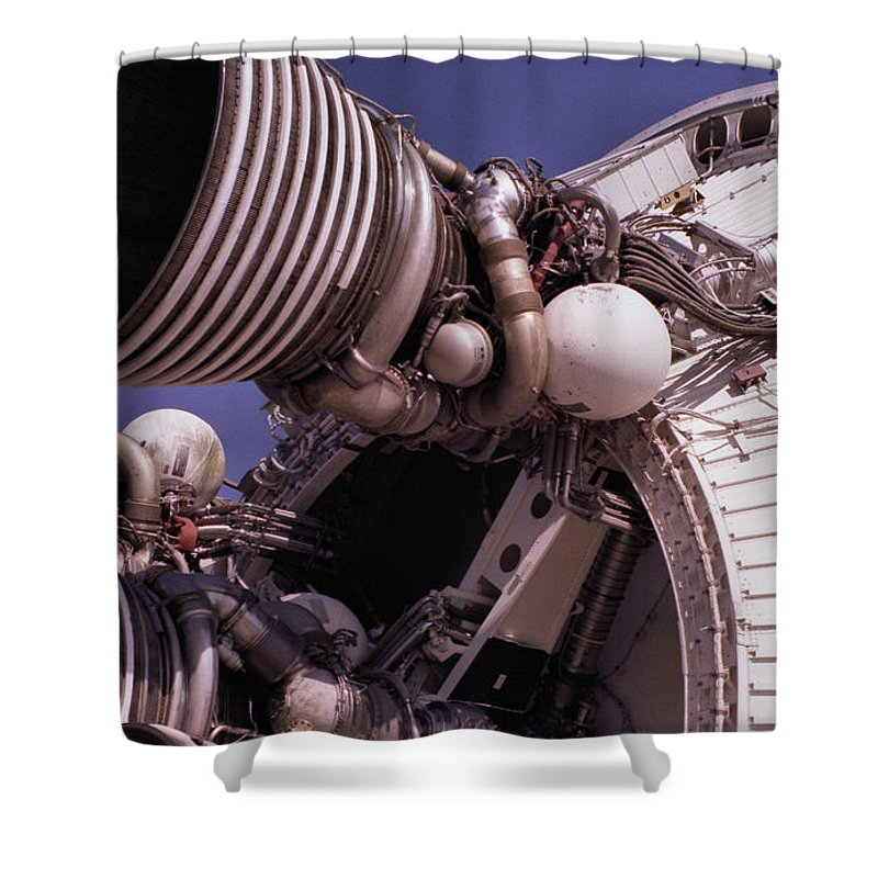 Technology Shower Curtain featuring the photograph Apollo Rocket Engine by Richard Rizzo