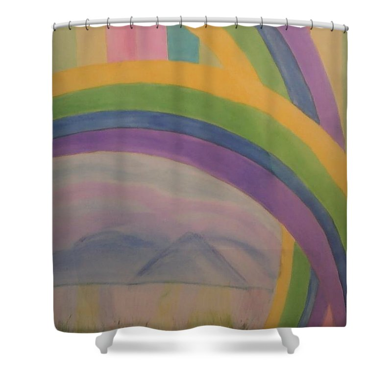 Landscape Shower Curtain Featuring The Painting Appalachian Mountains With Rainbow By Doriel Mackay