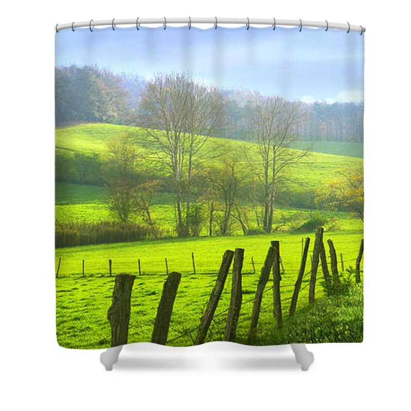 Agriculture; Background; Blue; Ridge; Country; Countryside; Ecology; Environment; Farm; Farmland; Field; Forest; Freedom; Grass; Green; Harvest; Hill; Horizon; Idyll; Idyllic; Landscape; Lawn; Meadow; Mountain; Nature; Outdoors; Outside; Park; Pasture; Peace; Plants; Rural; Scene; Scenery; Season; Sky; Space; Spring; Summer; Sunny; Tourism; Travel; Vacations; Valley; Mist; Misty; Morning; Wood; Appalachian; Appalachia; Sunbeams; Dawn; Sunrise; Road Shower Curtain featuring the photograph Appalachian Spring Morning by Francesa Miller