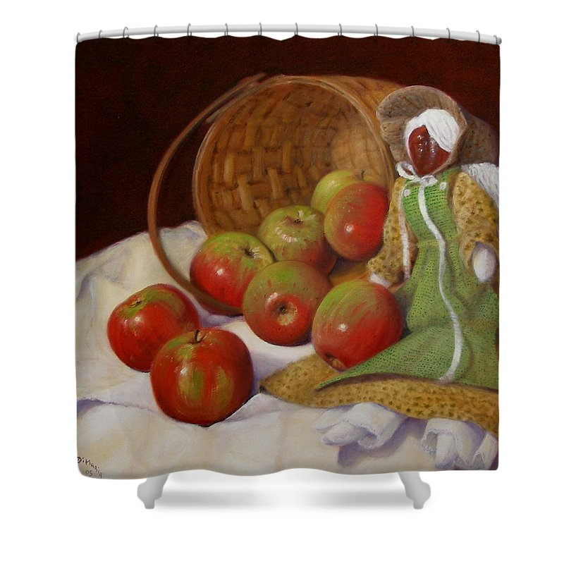 Realism Shower Curtain featuring the painting Apple Annie by Donelli DiMaria