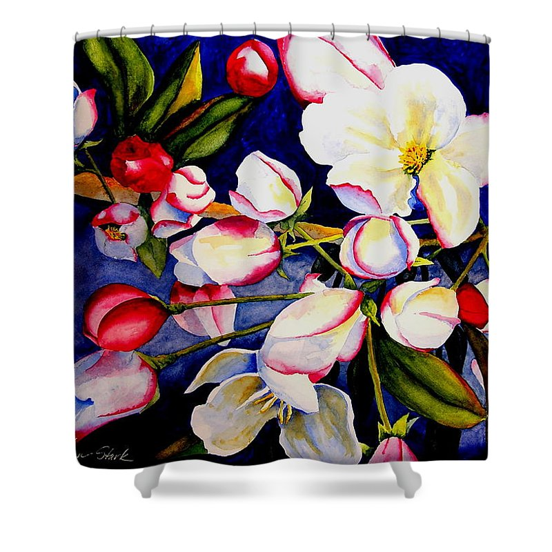 Apple Blossoms Shower Curtain featuring the painting Apple Blossom Time by Karen Stark
