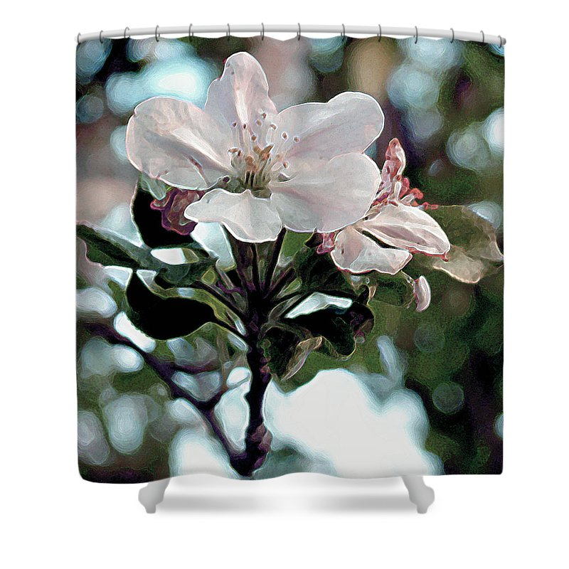Flowers Shower Curtain featuring the painting Apple Blossom Time by RC deWinter