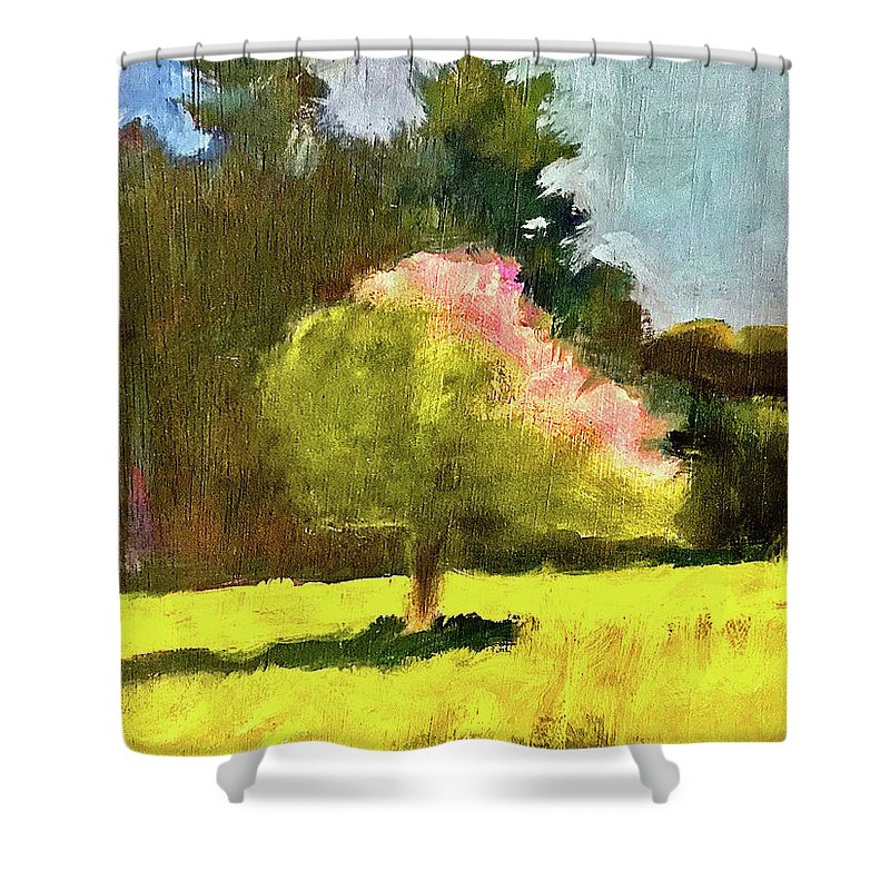 Dramatic Shower Curtain featuring the painting Apple Blossoms by James Murphy