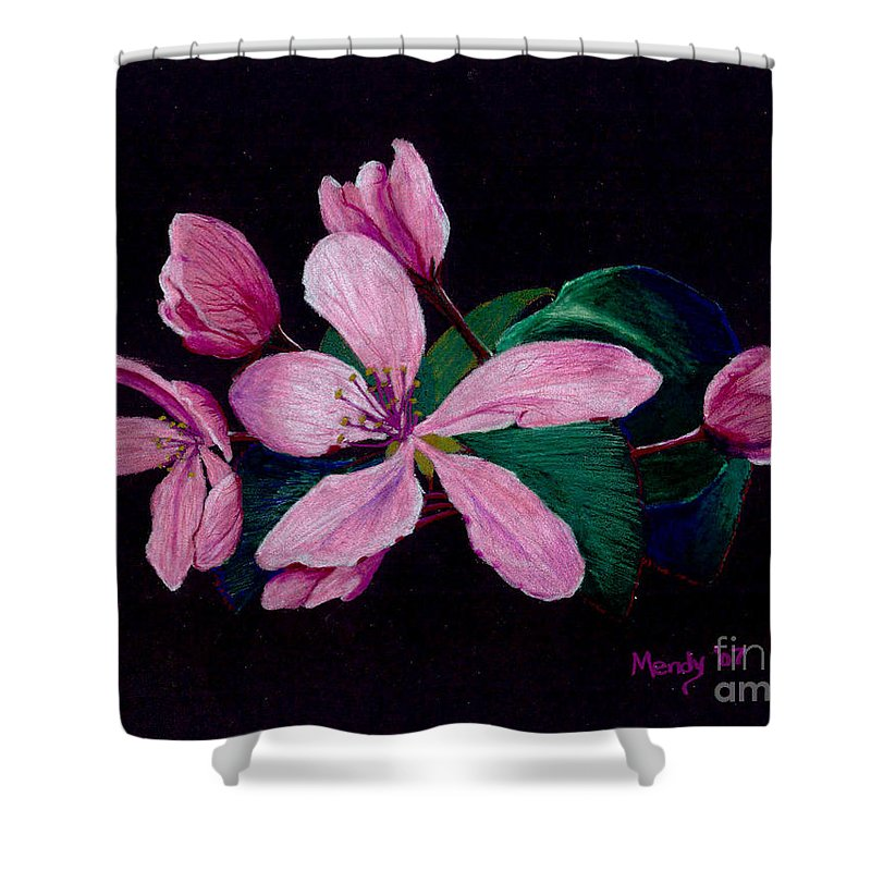 Apple Shower Curtain featuring the pastel Apple Blossoms by Mendy Pedersen
