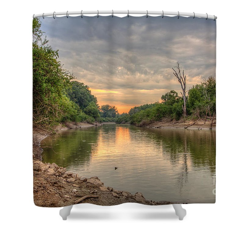 2015 Shower Curtain featuring the photograph Apple Creek At Dusk by Larry Braun