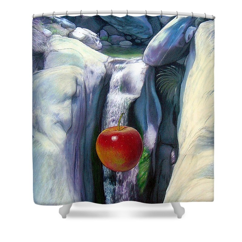 Apples Shower Curtain featuring the digital art Apple Falls by Snake Jagger