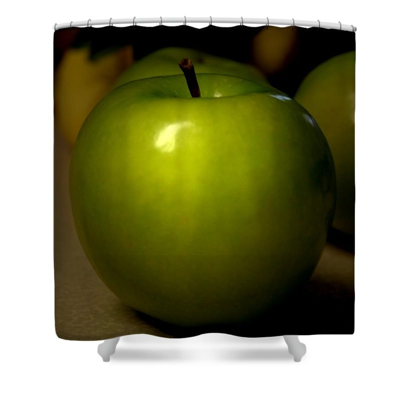 Green Apples Shower Curtain featuring the photograph Apple by Linda Sannuti